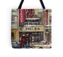 Peel Pub And Cafe Republique Rue Peel Montreal Winter Street Scene Paintings  Tote Bag