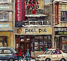 Peel Pub And Cafe Republique Rue Peel Montreal Winter Street Scene Paintings  by Carole  Spandau