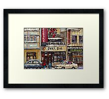 Peel Pub And Cafe Republique Rue Peel Montreal Winter Street Scene Paintings  Framed Print