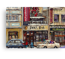 Peel Pub And Cafe Republique Rue Peel Montreal Winter Street Scene Paintings  Canvas Print
