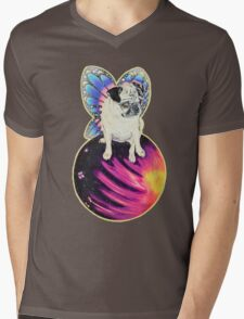 Puggerfly In Space Mens V-Neck T-Shirt
