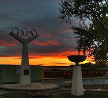 Sunrise on the olympic rings by Lois Romer