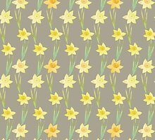 Yellow Watercolour Stemmed Daffodil Pattern on Khaki  by tanyadraws