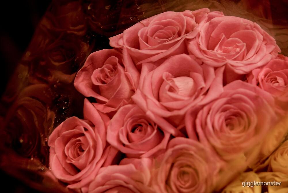 Pink Love Roses by gigglemonster