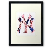 American Flag New York Yankees Logo Framed Print