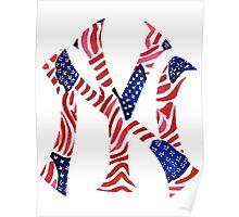 American Flag New York Yankees Logo Poster