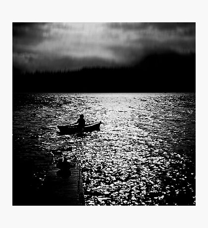 BANTAM LAKE EVENING WITH RAIN IN THE HILLS Photographic Print