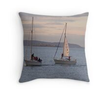 Sailing with Dalkey Island in backround Throw Pillow