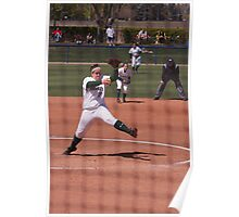 Pitcher in a Softball Games Throws the Next Pitch Poster