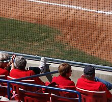 Softball Game - Home Town Spectators Decked Out in Red by Buckwhite