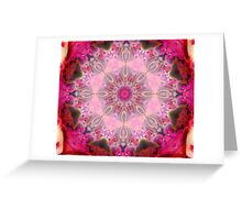 Pink flowers Kaleidoscope Greeting Card
