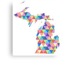 Michigan Colorful Hipster Geometric Triangles Canvas Print