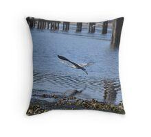 Blue Heron in Flight 2 Throw Pillow