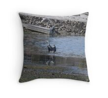 Blue heron has landed Throw Pillow