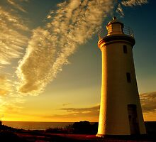 photoj Tas, 'Sunset Lighthouse On The Mersey' by photoj