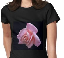 Raindrop Jewels on a Pink Rose Womens Fitted T-Shirt