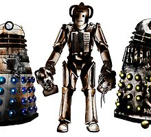 Destroyed Daleks and Rogue Cyberman by Chris Singley