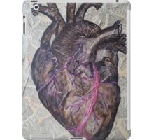 Anatomical heart illustration, original painting, old dictionary pages iPad Case/Skin