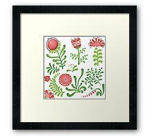 Set of symmetrical floral graphic design elements Framed Print