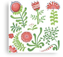 Set of symmetrical floral graphic design elements Canvas Print