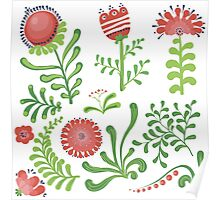 Set of symmetrical floral graphic design elements Poster