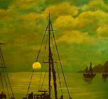 Marina Sunset Green by Peter McDonnell