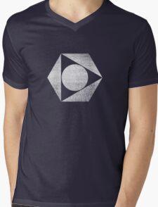 Tri Circle - White Mens V-Neck T-Shirt