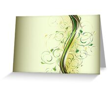 Abstract waves with floral ornament Greeting Card
