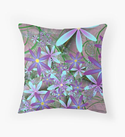 Clematis on the garden fence Throw Pillow