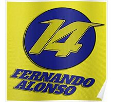 Fernando Alonso #14 (Formula One Race Number) Poster