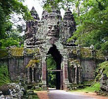 Angkor Thom gate - Cambodia by Derek  Rogers