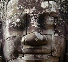 Stone face - Bayon by Derek  Rogers