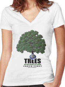 trees are our friends Women's Fitted V-Neck T-Shirt