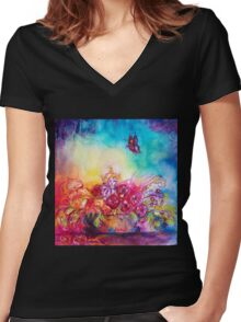 THUMBELINA,FLOWER BASKET AND BUTTERFLY Women's Fitted V-Neck T-Shirt