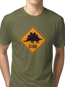 Prehistoric Xing - Stegosaurus Tri-blend T-Shirt