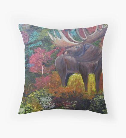 Bull Moose in Fall Throw Pillow