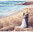 pacific coast newlyweds watercolor by Mike Theuer