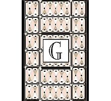 1920s Pink Champagne Gatsby Monogram letter G Photographic Print
