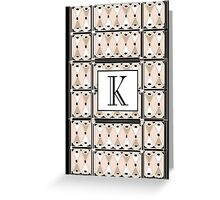1920s Pink Champagne Gatsby Monogram letter K Greeting Card