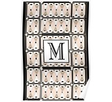 1920s Pink Champagne Gatsby Monogram letter M Poster
