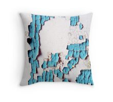 Breakdown of a Forgotten Blue Wall Throw Pillow