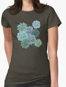 green succulent pattern Womens Fitted T-Shirt