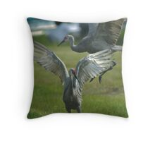 Dancing Sandhill Cranes Throw Pillow