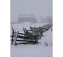 Fence in an April Snow.......... Photographic Print