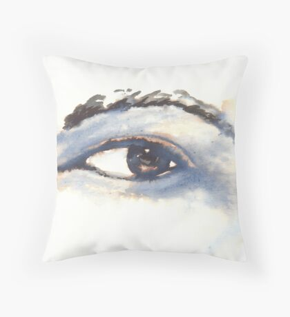 Quink Ink Study of Left Eye, Black ink and water on 200gsm paper Throw Pillow