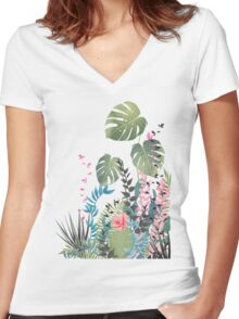 Tropical composition Women's Fitted V-Neck T-Shirt