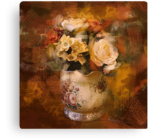 paris autumn gold orange oil painting flowers Canvas Print