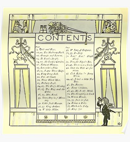 The Baby's Opera - A Book of Old Rhymes With New Dresses - by Walter Crane - 1900-12 Contents Plate Poster