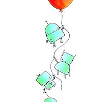 baby robots & a balloon by Candyforbfast