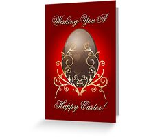 Easter Chocolate Egg With Golden Swirls Greeting Card
